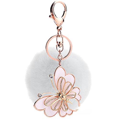 Faux Rabbit Fur Ball Pom Pom Rhinestone Butterfly Keychain Bag Purse Charm Key Ring White - Chic Handbag Charm