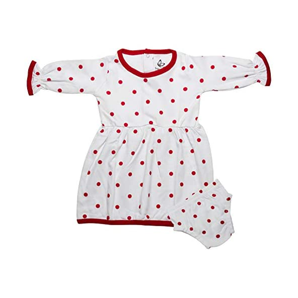 baby wish Girls Clothes Outfits, Cute Baby Girl Dress with Polka Dots Full Sleeves Clothing Set for Girl's – A Set of Frock and Shorts, Premium Clothing