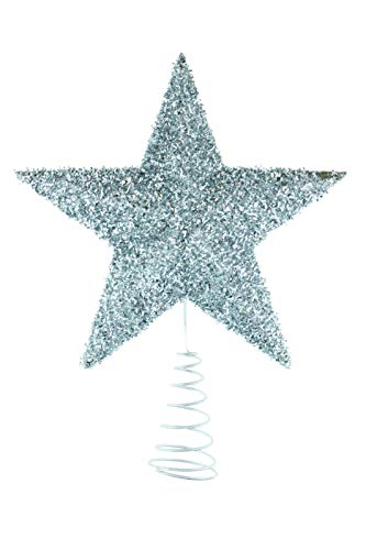Clever Creations Silver Star Christmas Tree Topper - Festive Christmas Decor - Sparkling Shatter Resistant Plastic - 7 inch Tall - Perfect for Any Size Christmas Tree (Silver Tree Theme Christmas Blue And)