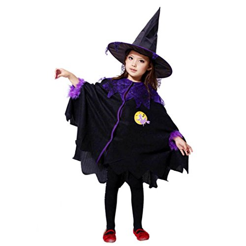 Halloween Costume Dress Toddler Kids Girls Cosplay Party Cloak+Hat Outfit by Keepfit (7T-8T, Black) -