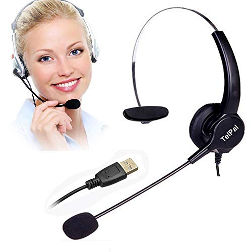 (TelPal Corded Noise Cancelling Monaural Headset with USB Headset Adapter as Office PC Headset for Computer/PC/Laptop Use Only)