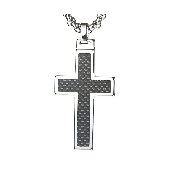 Unique-GESTALT-Tungsten-Cross-Pendant-4mm-Surgical-Stainless-Steel-Box-Chain-Black-Carbon-Fiber-Inlay