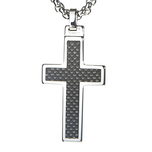 Unique gestalt tungsten cross pendant 4mm surgical stainless steel unique gestalt tungsten cross pendant 4mm surgical stainless steel box chain black carbon fiber inlay gifts and wish aloadofball Image collections