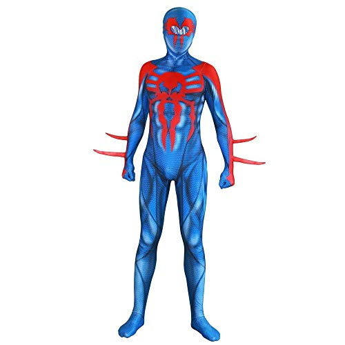 PIAOL New Age Venom Spiderman Costume Cosplay Siamese Tights Halloween Game Movie Clothes,Blue-XXL -