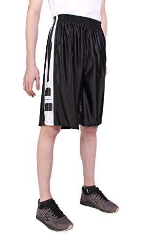 North 15 Men's Printed Basketball Long Mesh Shorts with Side Pockets-3298T-Blk-Wht-XL ()