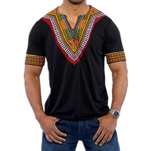 African Men Shirt Dashiki - HaoDong Mens African Shirts Fashion Dashiki - V Neck Tees Short Sleeve T Shirts Black