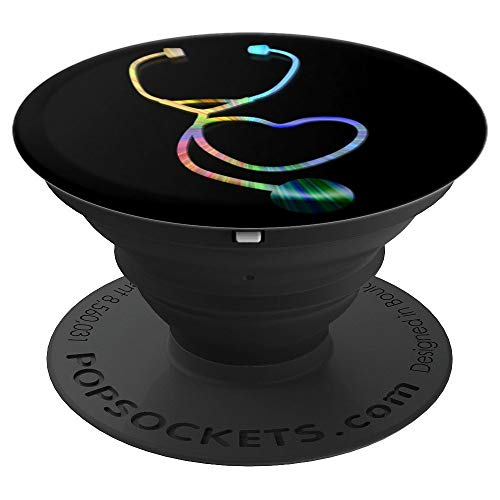 MD LPN MA CNA PCT RT EMT APRN PA RN Gift Rainbow Stethoscope - PopSockets Grip and Stand for Phones and Tablets