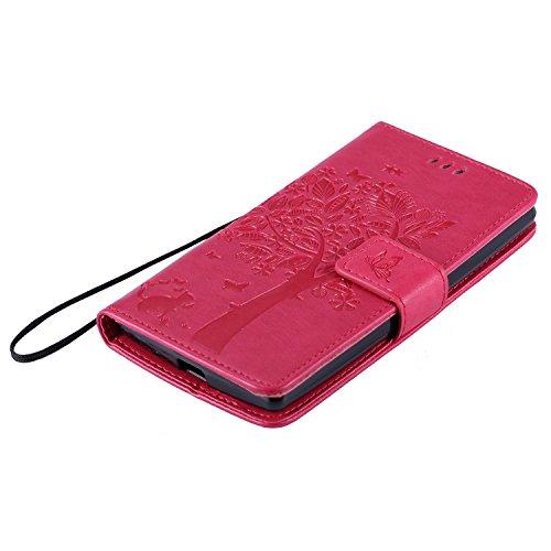 OuDu Funda Google LG G4 Mini/G4C/H525N Carcasa de Billetera Funda PU Cuero para Google LG G4 Mini/G4C/H525N Carcasa Suave protector con Correas de Teléfono Funda Arbol Flip Wallet Case Cover Bumper Ca