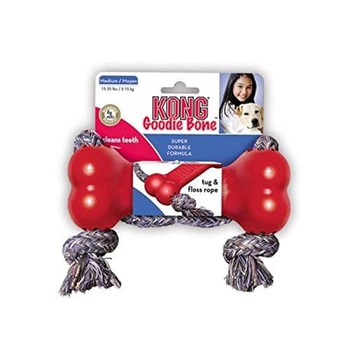 KONG Goodie Bone with Rope Dog Toy, Medium, Red