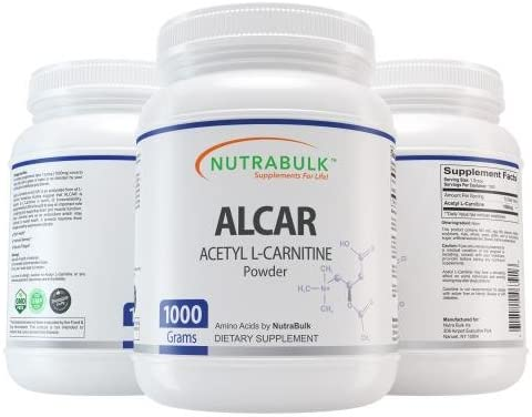 Acetyl L-Carnitine Best Workout Recovery Powder – Pure ALCAR – Pre Intra Post Workout Supplement – NutraBulk 100 Pharmaceutical Grade – One Kilogram 1000g