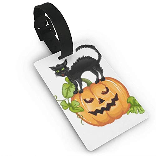 Black Cat Sitting On Halloween Pump,Suitcase,Travel Accessories Baggage Name Tags Travel Luggage Tag ID Identification Labels]()