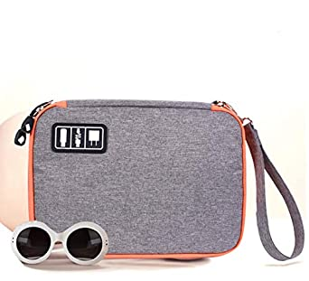 Electronic Organizer Travel Case, ALLWINS Zipper Universal Electronics Accessories Cases Gadget Storage Bags for USB Cable SD Card, Hard Drive, Power Bank, Tablet Charger and Mice (Grey Orange Zipper)