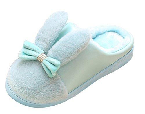 ICEGREY Damen Warme Hausschuhe Puffy Kaninchen Ohr mit Bogen Winter Hausschuhe Bequeme Hauspantoffeln Wärmehausschuhe Blau 36-37