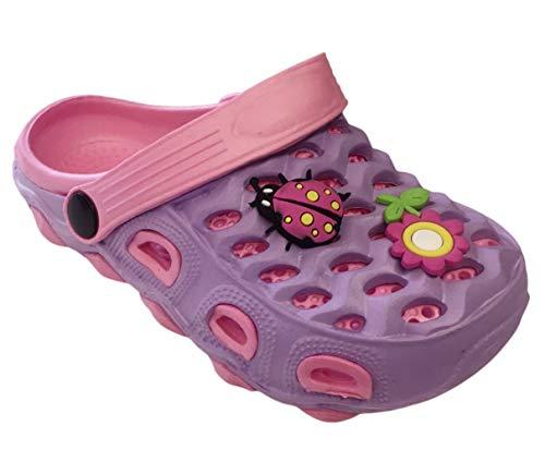 Rhinestone Flower Slide Sandal - Best Purple Eva Gardening Clog Slide Sandal for Girls with Backstrap Lightweight Waterproof Non Slip Two Tone Colorful Breathable Novelty Silly Cute Walking Pool Slipper Shoe (Size 5, Purple)