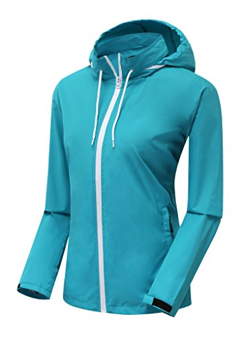 ZSHOW Women's Cycling Hooded Windbreaker Quick Dry Travel Packable Jacket(Acid Blue,Large)