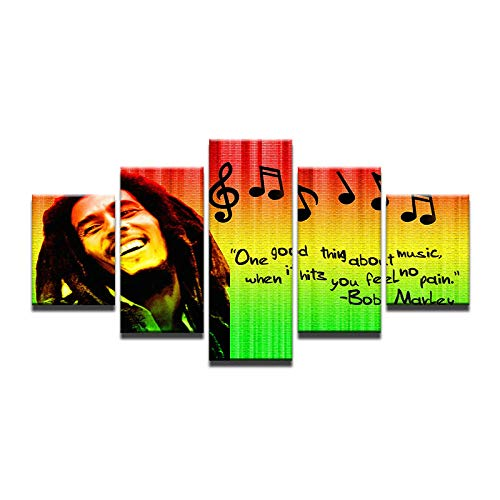 Fbhfbh HD Prints Pictures Home Decor Modular Canvas Wall Art 5 Pieces Bob Marley Painting for Living Room Music Poster Framework -4x6/8/10inch,Without Frame]()