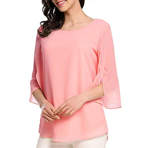 (Womens Casual Easy Matching Shirt Tops Flowing Split Sleeves Chiffon Blouse Pink)