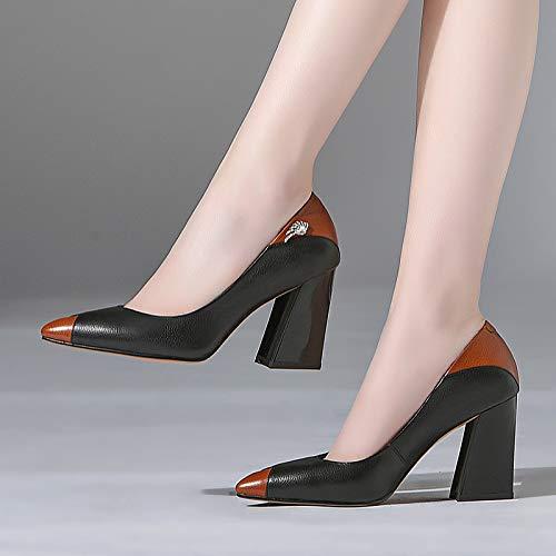 Yukun zapatos de tacón alto Zapatos De Mujer PU Tacón Bajo De La Boca Alta En Punta 747 Brown