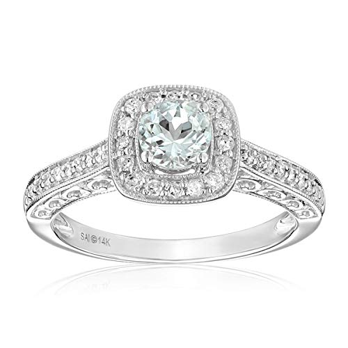 - 14k White Gold Aquamarine and Diamond Ring (1/4 cttw, H-I Color, I2-I3 Clarity), Size 7