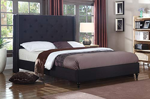 Best Master Furniture YY129 Vero Tufted Wingback Platform Bed, Cal King Black