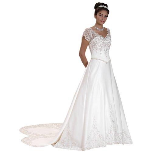 V Hochzeitskleider Elfenbein BRIDE Kapelle Ausschnitt Satin mit GEORGE Zug Brautkleider 6tR1qp