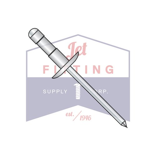 3/16X.250-.500 Multi-Grip Rivets | Aluminum Body - Steel Mandrel | Large Flange Dome Head | Body: Aluminum Alloy #5251 or equivalent | Mandrel: Low Carbon Steel, Zinc Plated (QUANTITY: 2500) by Jet Fitting & Supply Corp (Image #1)