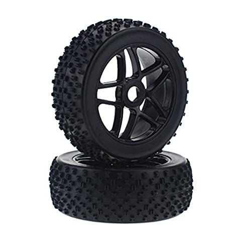 HobbyMarking 2Pcs 1/8 Scale 17mm RC Off-Road Racing Tires Tyre and Wheel Rims for Baja Buggy RC4WD HSP - 1/8 Buggy