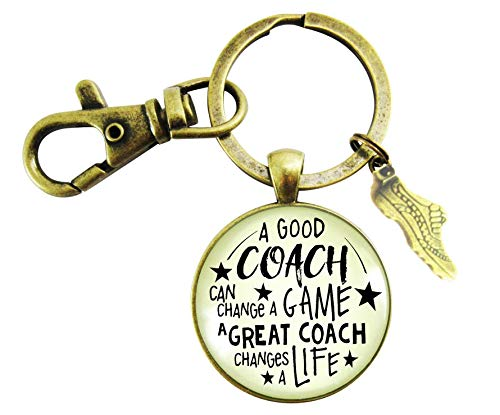 Cross Country Coaching Keychain A Great Coach Changes A Life Quote Thank You Gifts For Men Women Running Track Shoe Charm