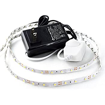 HitLights Cool White LED Light Strip Kit, 16.4 Feet - Includes Power Supply and Dimmer. 300 LEDs, 5000K, 72 Lumens per Foot. 12V DC