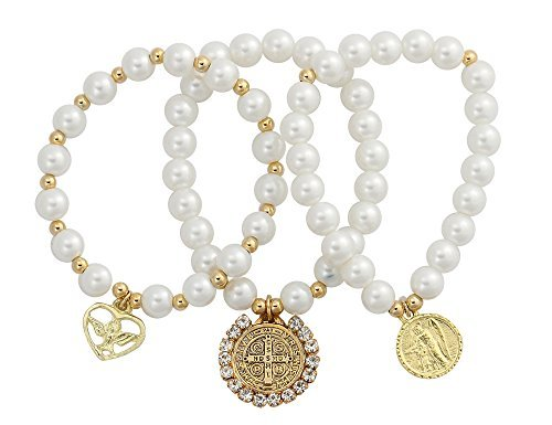 Catholica Shop Catholic Religious Wear Saint Benedict, Holy Dove Spirit and Guardian Angel Medals Elasticated Bracelet | Simulated Pearl Beads With Gold Plated Spacers