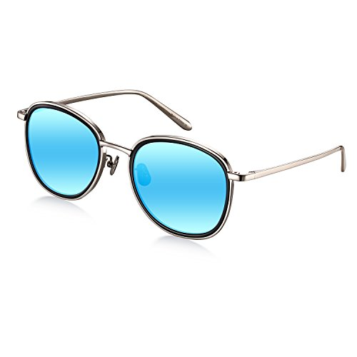 Wenlenie Women's W518 Silver Frame/Mirror Blue Lens Titanium Round Aviator - Face Of For Sunglasses Shape