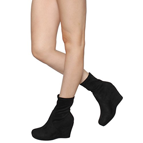High Vegan On Platform Pull Top Ankle EI68 Black Wedge Wrapped Beston Booties Womens nwSxC48qRT