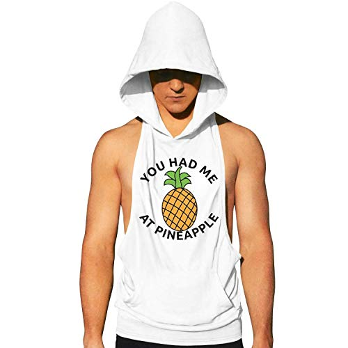 asndauso Workout Hooded Tank Tops You Had Me at Pineapple Wordmakrs Men Active Gym Hoodie with Pocket Cool and Muscle Cut