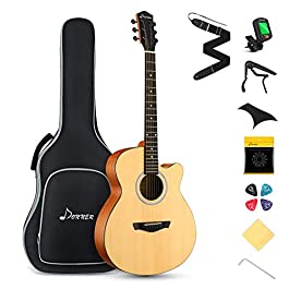Donner Acoustic Guitar Beginner Mini Jumbo Cutaway 4/4 Full Size 40 inch Guitar Bundle Kit For Adult Child with Gig Bag…