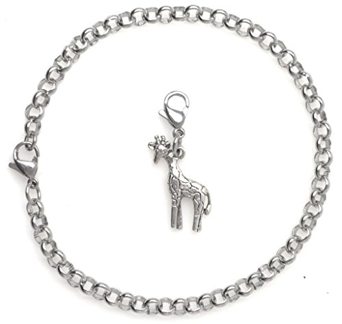 """2 PC SET: Adjustable 8.5"""" Stainless Steel Starter Charm Bracelet and Clip on Charm Giraffe 2PB 42H by It's All About...You!"""