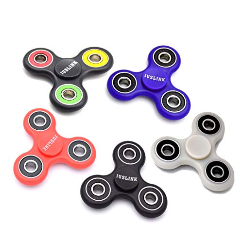 JUSLINK 5 Pack Fidget Spinners, 3 to 5 Minutes Spin Time (Best Fidget Spinner To Get)