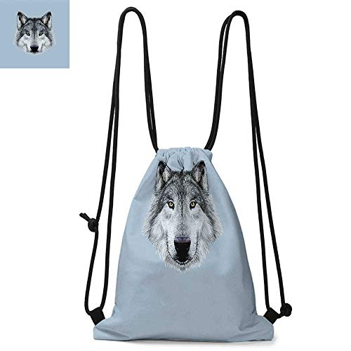 (Wolf Durable Drawstring Backpack Wolf Portrait with Beautiful Gaze Sublime Animal Illustration Canine BeastSuitable for carrying around W13.8 x L17.7 Inch Black Beige Bluegrey)