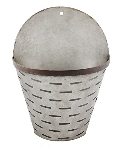 Galvanized Hanging Wall Bucket with Rustic Finish