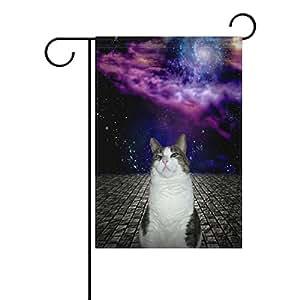 wozo Funny gato jardín bandera Galaxy nebulosa poliéster bandera al aire libre casa fiesta
