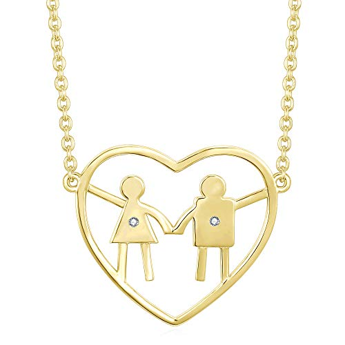Celebrate Family Heart Necklace for a Mom with a Daughter and a Son. Mom Necklace. Birthday Gift for mom or Mother's Day. Baby Shower and Push Present. (One Girl + ()