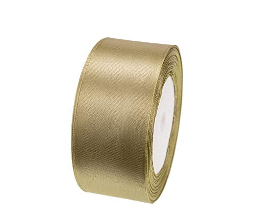ATRibbons 25 Yards 1-1/2 inch Wide Satin Ribbon Perfect for Wedding,Handmade Bows and Gift Wrapping (Old Gold)