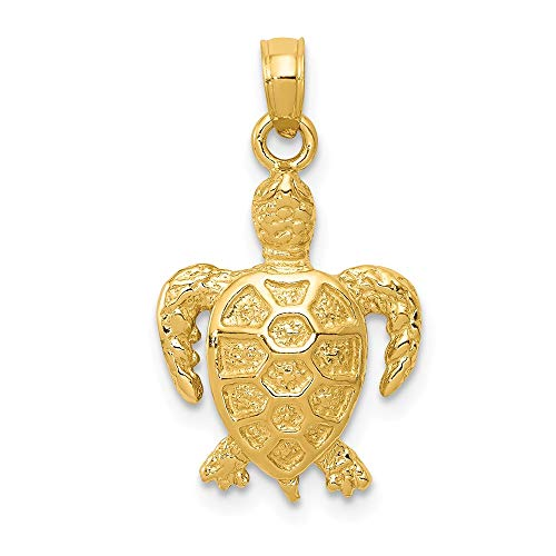 14k Yellow Gold Sea Turtle Pendant Charm Necklace Life Fine Jewelry Gifts For Women For Her