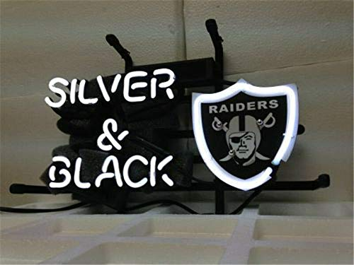 Queen Sense 14''x10'' Oakland Raider Silver and Black Neon Sign Light Beer Bar Pub Man Cave Real Glass Lamp DE20