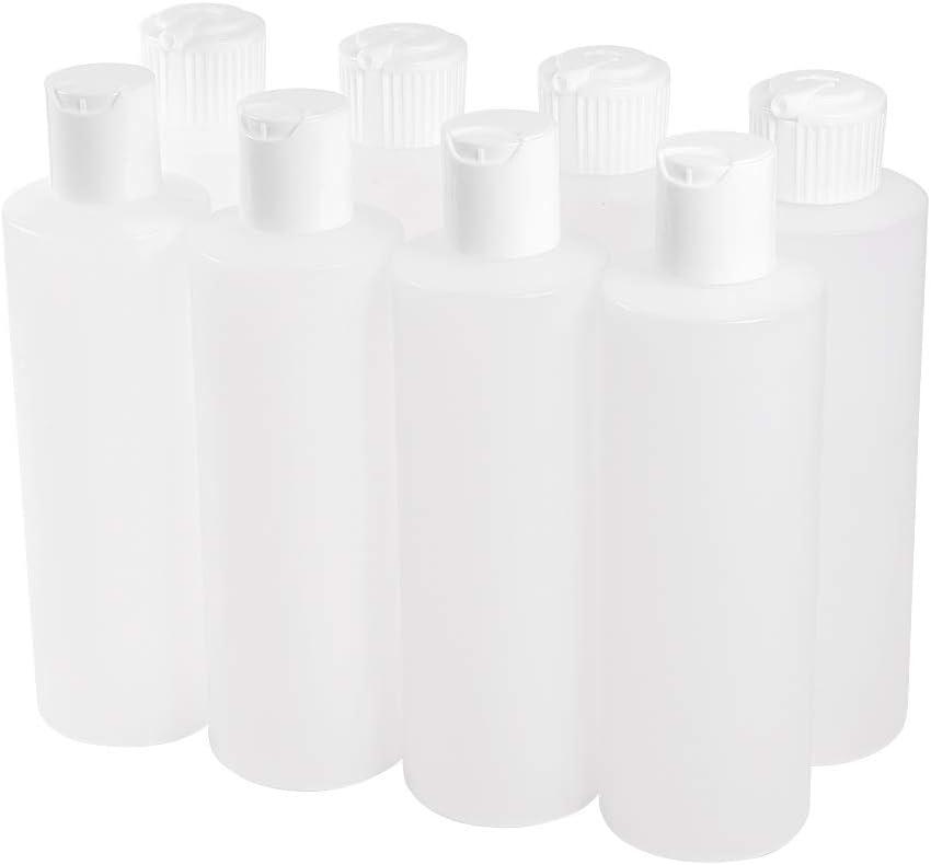 PandaHall Elite 8pcs 2 Styles 250ml Plastic Squeeze Bottles with Flip Disc & Flip Spout Dispenser Caps-Refillable Plastic Containers Travel Empty Bottles for Liquids Shampoo Cream