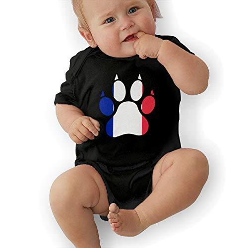 Short Sleeve Cotton Bodysuit for Unisex Baby, Soft France Flag Dog Paw Playsuit Black ()