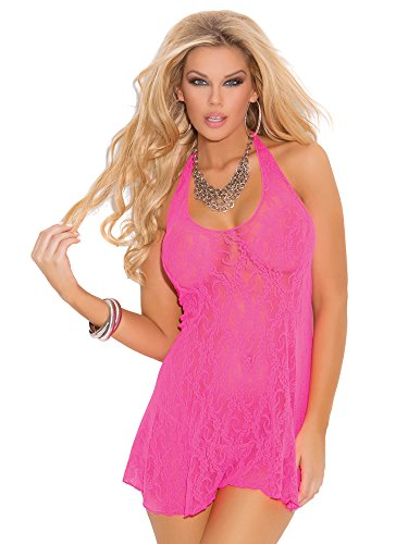 n's Lace Halter Mini Dress, Hot Pink, One Size ()
