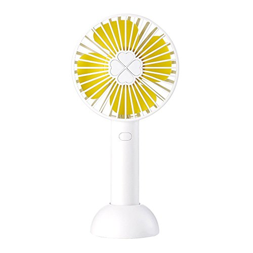 YinQin Mini Handheld Fan Portable Quiet Sound Electric USB Mini Hand Fan 2000mAh Battery Operated Adjustable 3 Speeds Mini Fan for Office Outdoor Traveling (White) ()