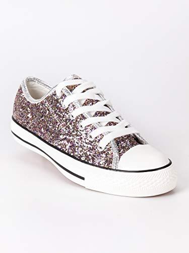 Basse Glitter Fuxia Sneakers Tessuto Colorate Donna Con x1wwv