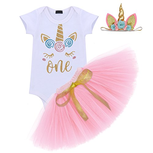 Unicorn Flower Outfit Baby Girls Romper + Ruffle Tulle Skirt + Horn Headband First 1st Birthday Party Dress up Costume 3Pcs Cake Smash Set Clothes Pink Age 1 Year