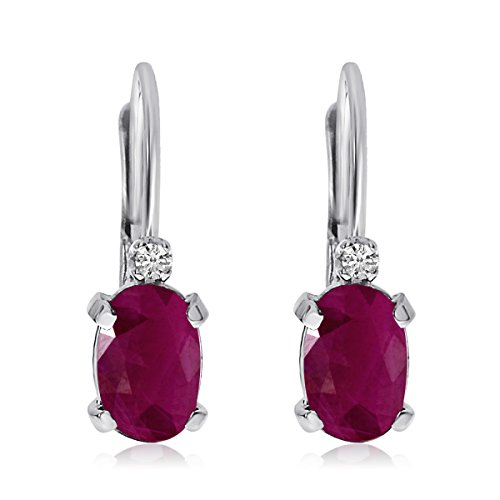 14k White Gold Oval Ruby and Diamond Leverback ()